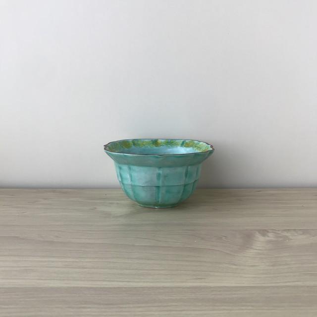 【三川内焼】グリーン交趾 桔梗渕木甲小鉢
