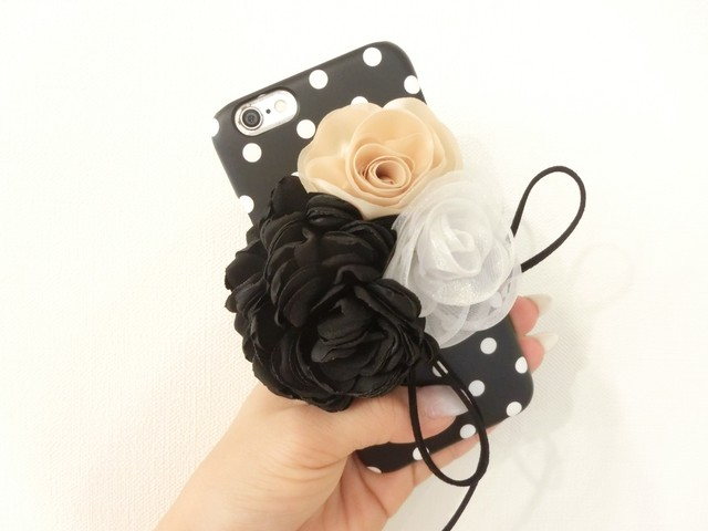 【 Colivey 】I Phone 6 / 6S case  Flower Black dot