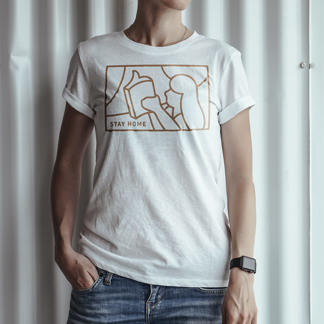 Tシャツ STAY HOME (brown)