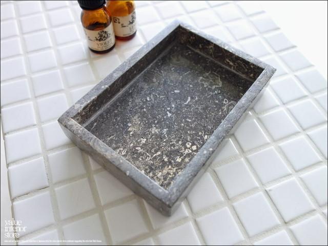 大理石トレイSQ-GY14 天然大理石 マーブルトレイ 小物入れ 長方形 自然石 洗面用品置き トレー 手作り 本大理石 W14 x D10cm 『数量限定』