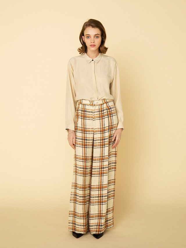 classic checked wide pants