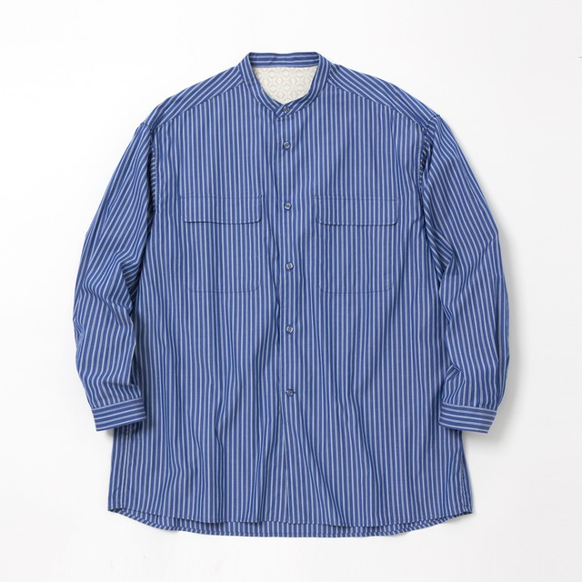 STRIPE BAND COLLOR LONG SLEEVES SHIRT - RANDOM