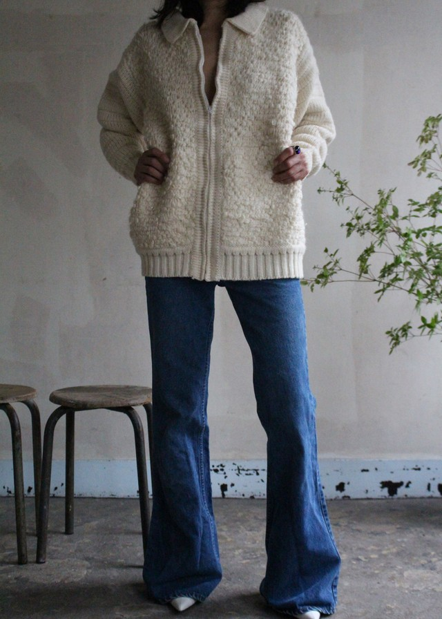 70s wool zip cardigan