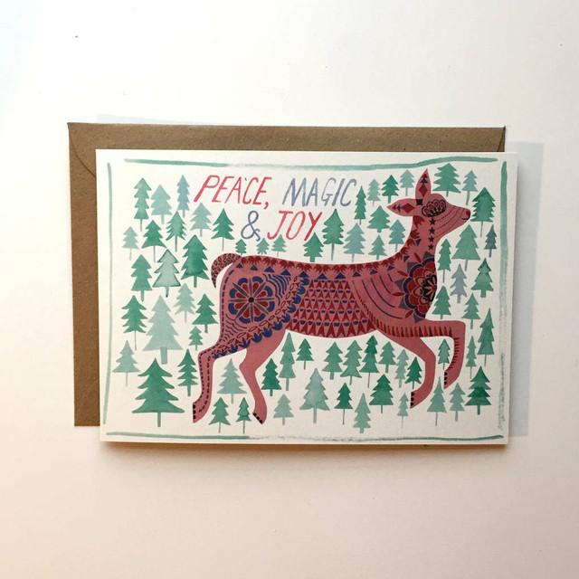 Christmas Card Peace, Magic And Joy Deer