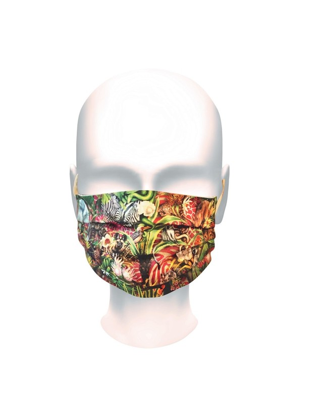 洗える布マスク「アフリカ動物 ジャングル柄」 プリーツ 男性・女性・子ども用 ソーシャルグッド&個性的※在庫あり
