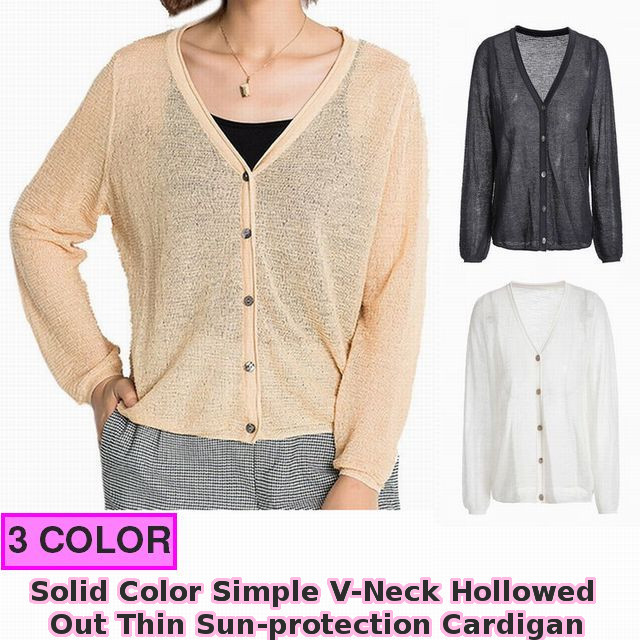 レディース カーディガン 《3カラー》 / Solid Color Simple V-Neck Hollowed Out Thin Sun-protection Cardigan (SKU : 18WT371)