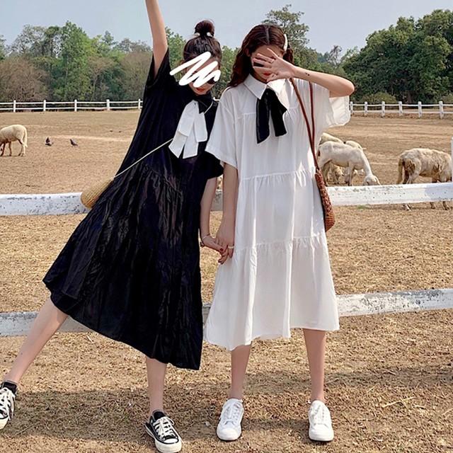 「ワンピース」ファッション無地切り替えロングワンピース19877937