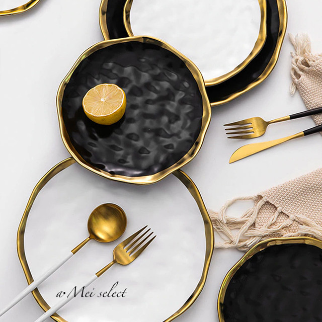 [S&L 2枚セット] 大人気!! 海外デザイン 高級セラミックゴールドエッジプレート お皿 食器セット 磁器 ディナー パティー 誕生日
