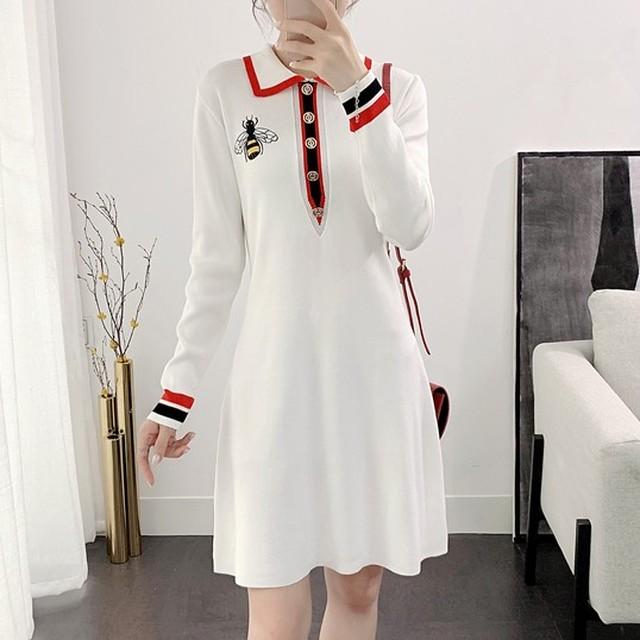 【dress】エレガント気質アップ長袖細見えスリム配色ニットワンピース