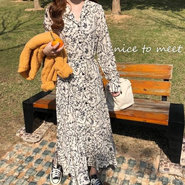 【ワンピース】韓国系シングルブレスト折り襟足首丈小柄ワンピース38261793