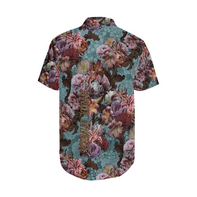 芍薬牡丹百合 ブルー 和柄アロハシャツ