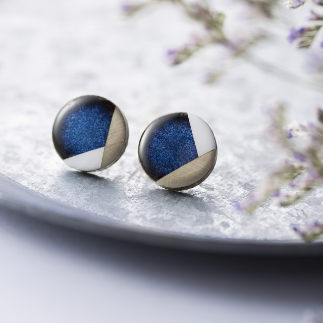 藍色 陶器 丸 イヤリング&ピアス モダン 美濃焼