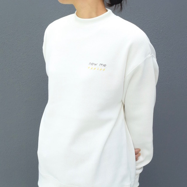 maindish mock neck knit sweat (white)