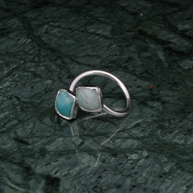 DOUBLE STONE OPEN RING SILVER 004