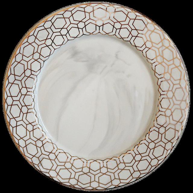 Marble goldpattern dish / 大理石 ゴールド柄 大皿 27.5㎝