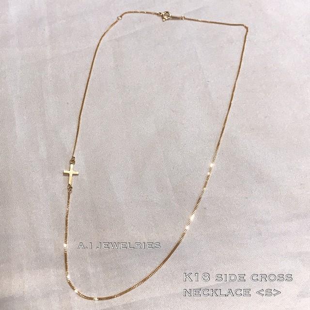 18金 クロス ネックレス K18 サイドクロス デザイン<s> side cross design necklace