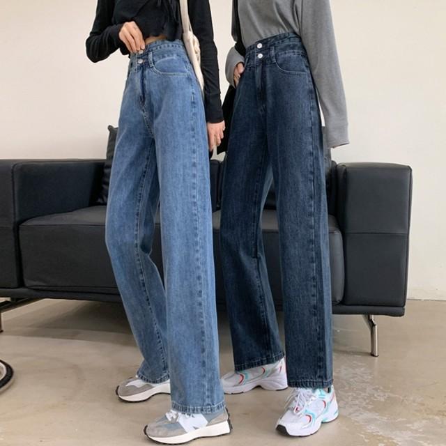 【ボトムス】大人気 ファッションハイウエスト 無地  ボタン デニムパンツ49102963