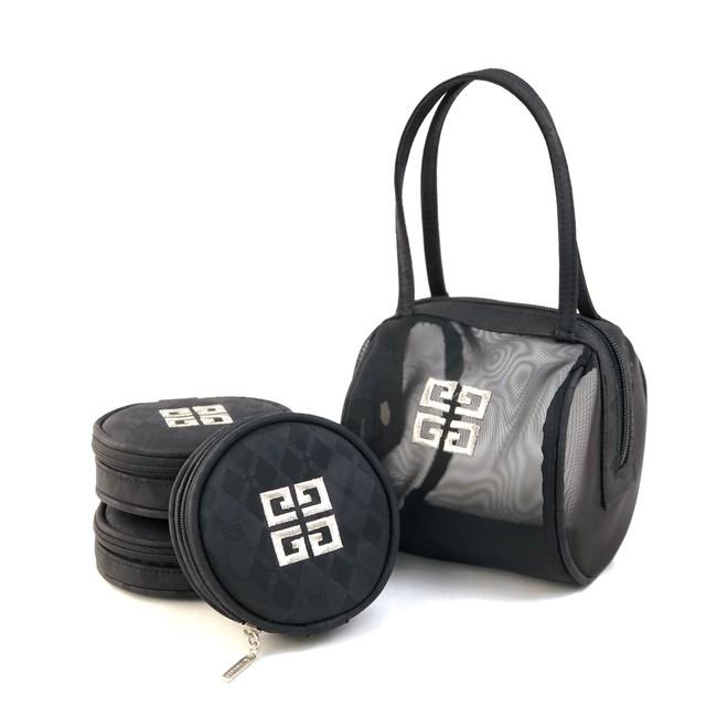 GIVENCHY ジバンシィ ロゴ ミニバッグ ロール ポーチ付き メッシュ ハンドバッグ  ブラック vintage ヴィンテージ オールド Accessories zepst3