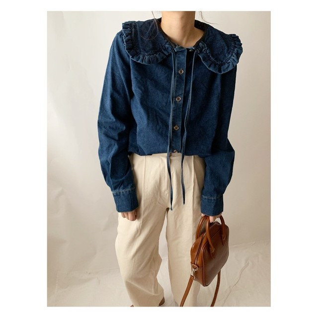 【asyu】frill denim shirt