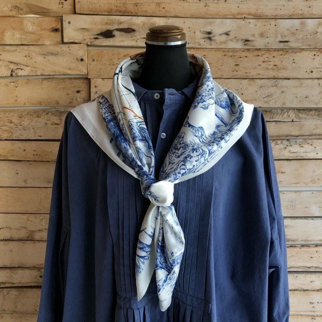TOPANGA Accessory ネイチャーマップスカーフ ブルー