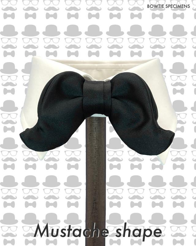 マスタッシュ/口ひげ形 (ブラックサテン/ソリッド) 作り結び型〈蝶ネクタイ ヒゲ 髭 プライベート 普段使い 黒〉
