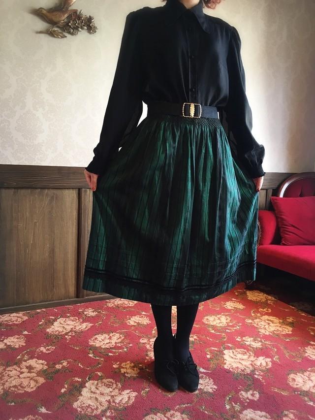 グリーン スクエアストライプ モダンスカート