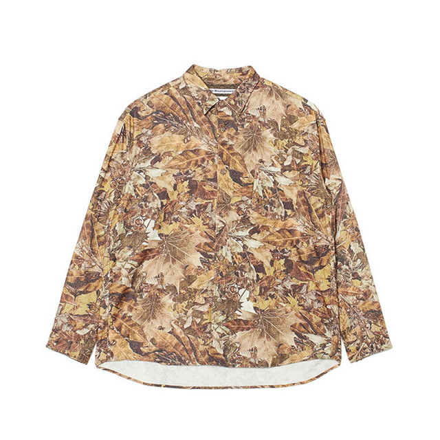 FALLEN LEAVES PRINTED  BIG SHIRT - BROWN