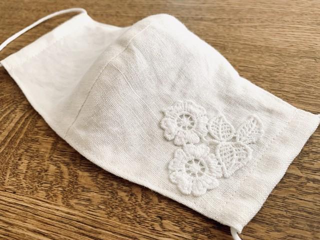 大人のレースマスク⑮ solid lace linen left