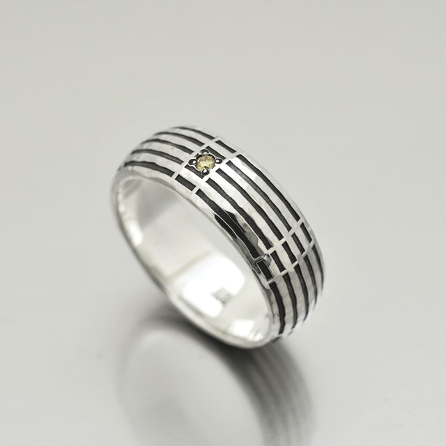sein silver ring/Light yellow diamond/Ring M