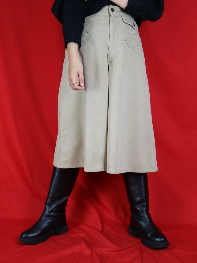 design pocket wide middle pants【0555】