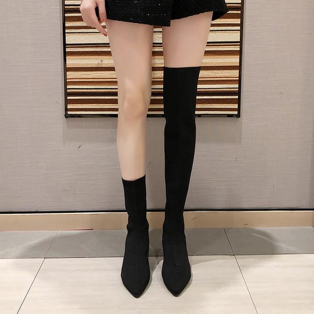 【シューズ】可愛いファッションキュートキャンパス無地切り替えブーツ23850104