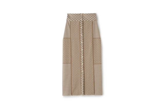 MOSAIC PATTERN SKIRT - [BEIGE×WHITE]