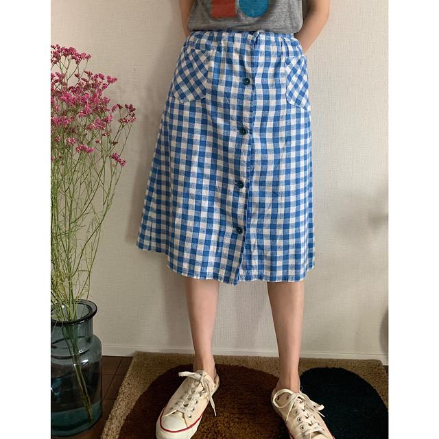 70's vintage front bottoned blue white gingham cotton skirt