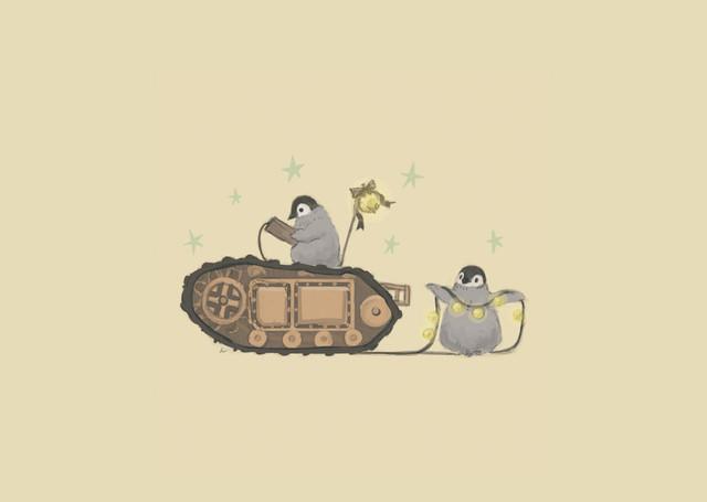 【南極ホタル堂】 複製画「Penguin Tank Goliath & Emperor penguin」