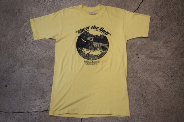"USED ""Shoot the Bull"" Chattooga River Vintage T-shirt Sneakers 80s made in USA T0183"