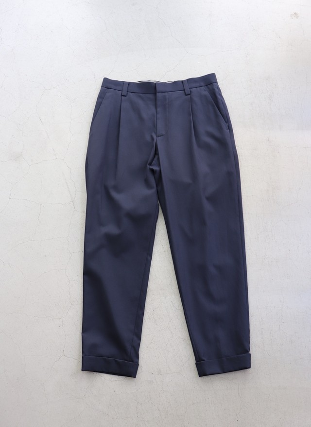 kemit 【ケミット】 WARP FILAMENT SILK✖️WEFT COTTON TWILL PANTS(NAVY)