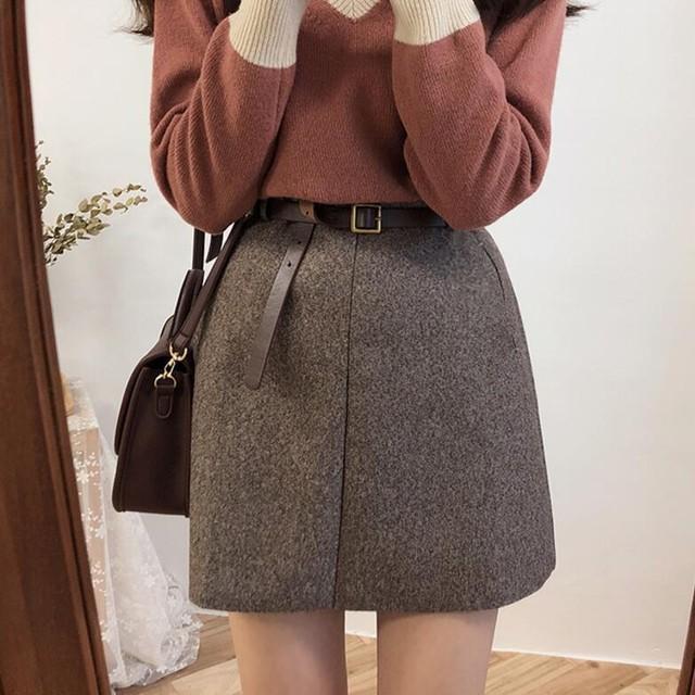 【bottoms】ラシャ生地注目される切り替えスカート(ベルト付き)