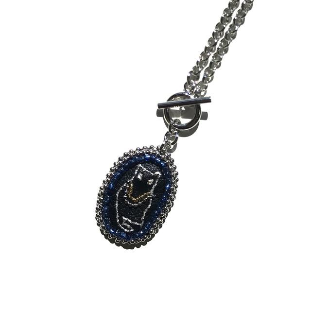 ブラックキャットのネックレス 【ヴィンテージ ビーズ ネックレス 猫】