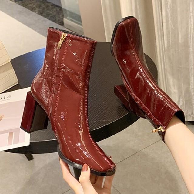 【シューズ】ファッションファスナーハイヒールスクエアトゥショート丈ブーツ25108937