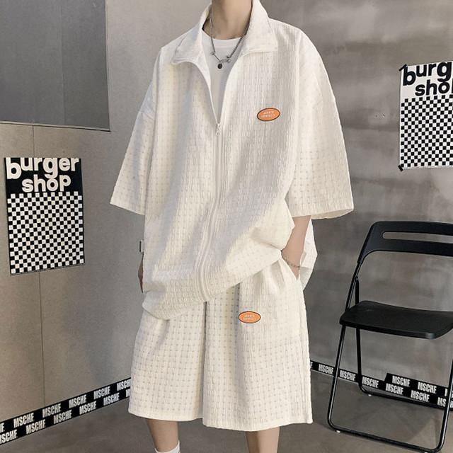 【メンズファッション】セットカジュアル七分袖POLOネックジッパーシャツ+ショートパンツ45207769
