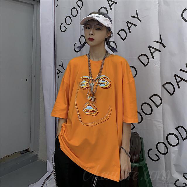 【トップス】激売れ中ファッションラウンドネックプリントプルオーバー半袖Tシャツ41530100