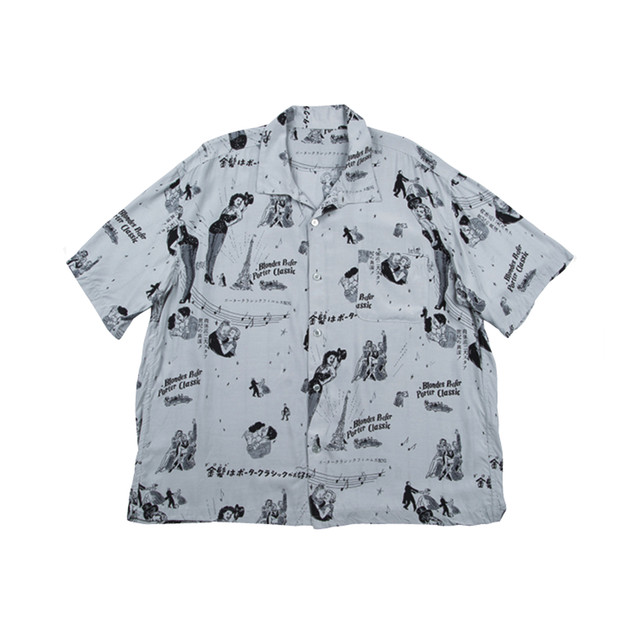 PORTER CLASSIC Blondes Aloha Shirt Gray PC-024-1077-11