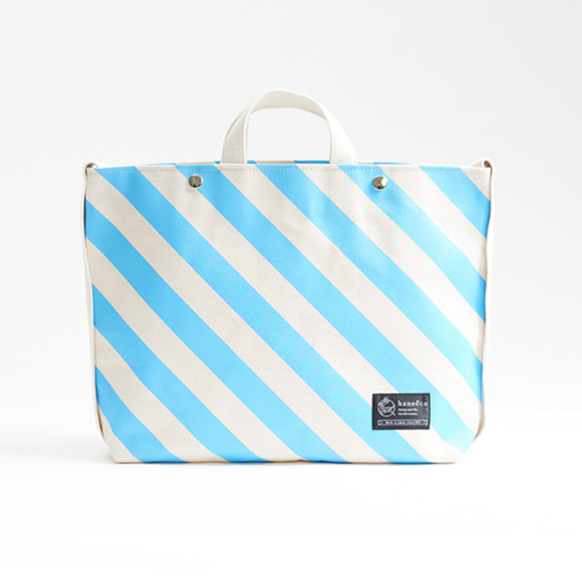 shoulder tote bag/sky × stripe ショルダートート/ 空 x 縞