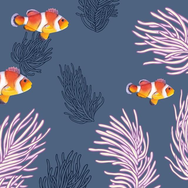【Paper+Design】バラ売り2枚 ランチサイズ ペーパーナプキン CLOWN FISHES ダークブルー
