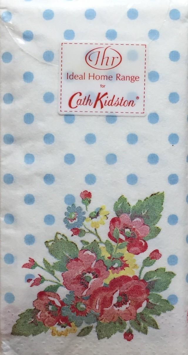 【Cath Kidston】バラ売り1枚 ポケットサイズ ペーパーナプキン FOLK FLOWERS ブルー