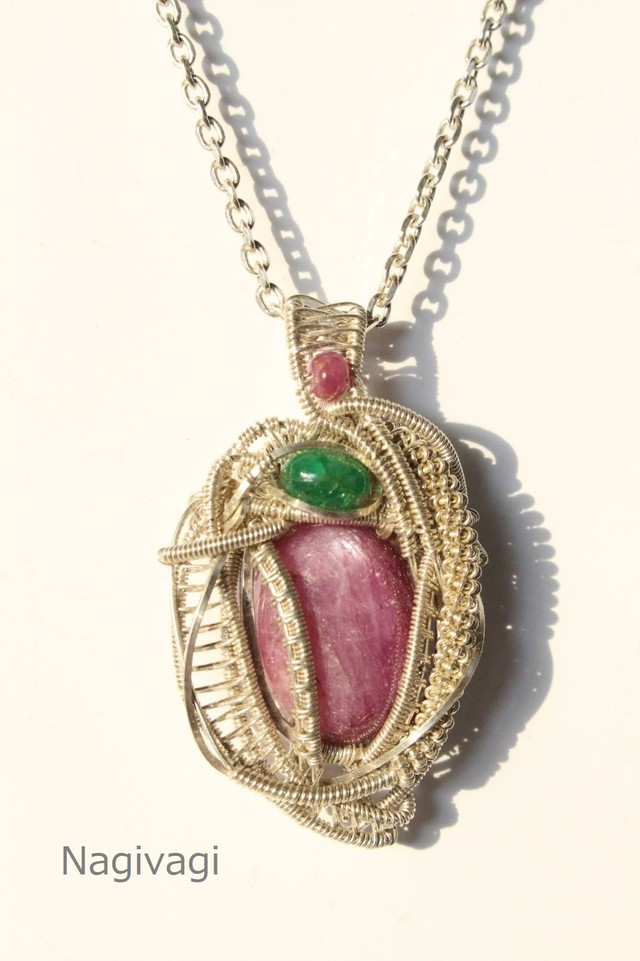 Ruby Emerald silver925 wirewrapping pendant
