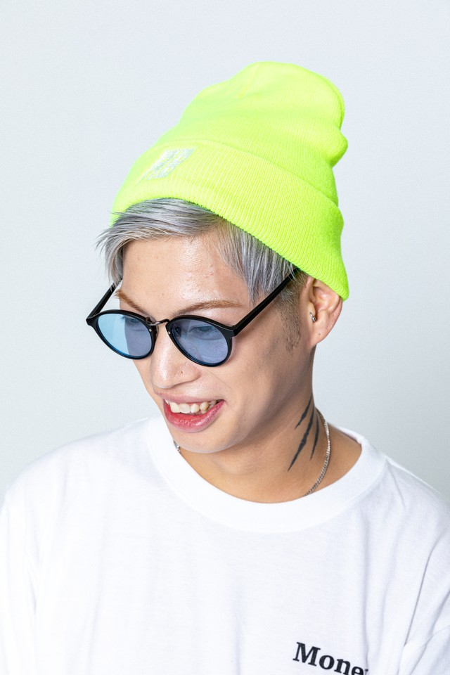 AB Embroidery Knit Beanie (Lime)