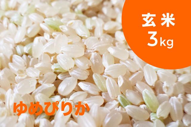 【令和元年産 新米】特別栽培米 ゆめぴりか(玄米)3kg