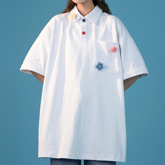 ビックシルエットカラフルボタンポロシャツ
