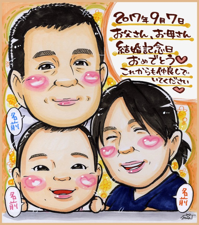 【色紙】3名入り似顔絵(絵師:aco)